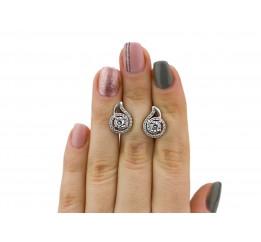 Серьги серебряные с цирконием Улитка (2610/9р)