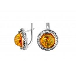 Серьги серебряные с золотом и янтарём (404ся)