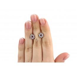 Серьги серебряные с цирконием Цветочки (89146)