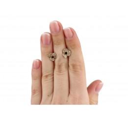 Серьги серебряные с цирконием Цветочки (89046)
