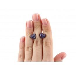 Серьги пусеты-гвоздики серебряные с цирконием Сердечко с камнями (2434/9рф)
