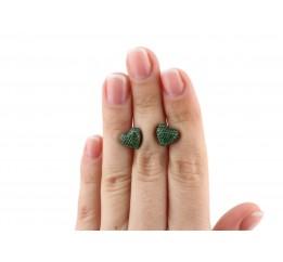 Серьги пусеты-гвоздики серебряные с цирконием Сердечко с камнями (2434/9рз)