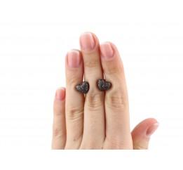 Серьги пусеты-гвоздики серебряные с цирконием Сердечко с камнями (2434/9ркон)