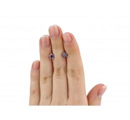 Серьги пусеты-гвоздики серебряные с цирконием Тюльпанчик (2437/9рам)