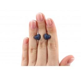 Серьги пусеты-гвоздики серебряные с цирконием Сердечко с камнями (2434/9рс)