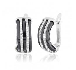 Серьги серебряные с керамикой и фианитами (ск2фк/1005)