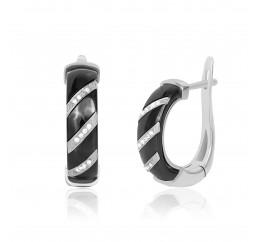 Серьги серебряные с керамикой и фианитами (ск2фк/1008)
