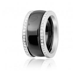 Кольцо серебряное с керамикой и фианитами (к2фк/1001)