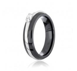 Кольцо серебряное с керамикой и фианитами (к2фк/1002)