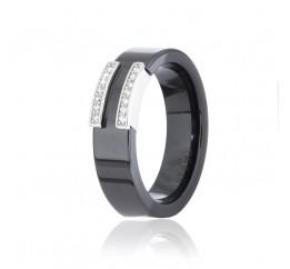 Кольцо серебряное с керамикой и фианитами (к2фк/1012)
