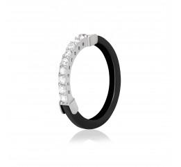 Кольцо серебряное с керамикой и фианитами чёрное (к2фк/1014)