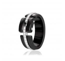 Кольцо серебряное с керамикой и фианитами (к2фк/1017)