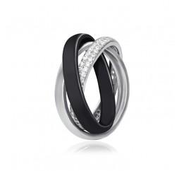 Кольцо серебряное с керамикой и фианитами (к2фк/171)