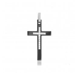 Подвес серебряный с керамикой Крест прямой (п2фк/1002)