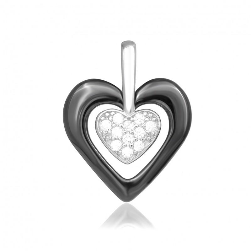 Подвес серебряный с керамикой Сердце (п2фк/1010)