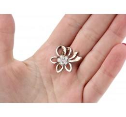 Брошь серебряная с цирконием Цветок (60016)