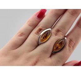 Серьги серебряные с золотом и янтарем Мира (153ся)