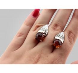 Серьги серебряные с золотом и янтарём Венера (015ся)