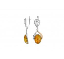 Серьги серебряные с золотом и янтарём Густава (156ся)