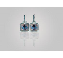 Серьги серебряные эксклюзивные с нанокристаллами и улекситом (459338с)