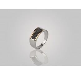 Печатка серебряная с золотом Фикус (580п)