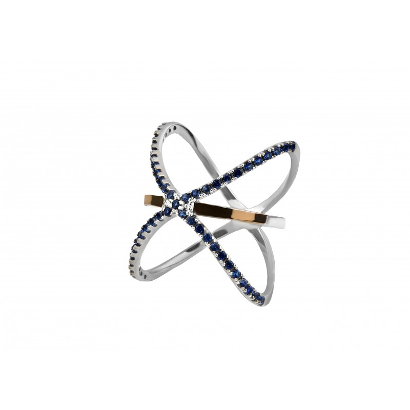 Кольцо серебряное с золотом Геометрия (1096к)