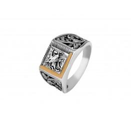 Печатка серебряная с золотом Георгий Победоносец (0102.10)