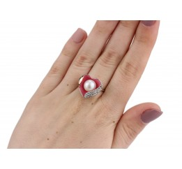 Кольцо серебряное с жемчугом и эмалью (0126.10к)