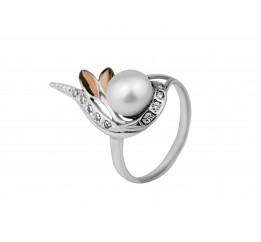 Кольцо серебряное с золотом и жемчугом Прелесть (444к)