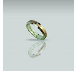 Кольцо серебряное с золотом Обручальное 1 (0342)