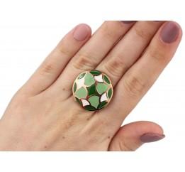 Кольцо серебряное с золотом и эмалью (483к)