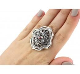 Кольцо серебряное эксклюзивное с цирконием (1296к)