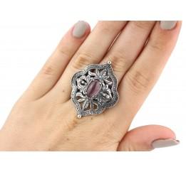 Кольцо серебряное с улекситом эксклюзивное (1297)