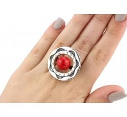 Кольцо серебряное эксклюзивное с кораллом (1108)