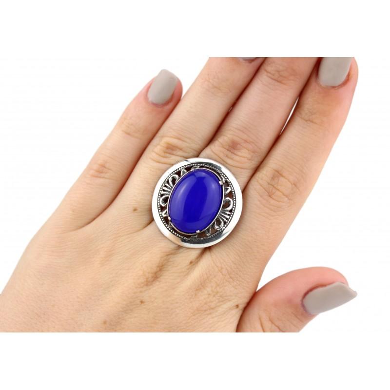 Кольцо серебряное эксклюзивное с агатом (1316а)