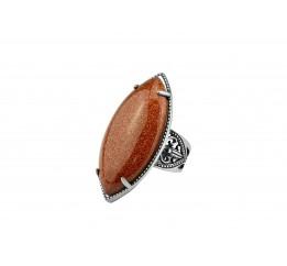 Кольцо серебряное эксклюзивное с авантюрином (1259)