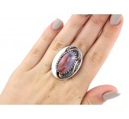 Кольцо серебряное эксклюзивное с агатом (1328а)