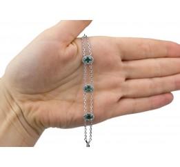 Браслет серебряный с зелёным кварцем и цирконием Былинка (4141р з кварц)