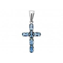 Крестик серебряный с кварцем London blue Крест с 6 камнями (3574р QLB)