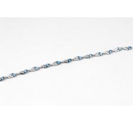Браслет серебряный с кварцем Lоndon blue и цирконием Иволга (4137р QLB)