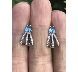 Серьги серебряные с натуральным кварцем London blue  и цирконием Безбрежность (2900/9р QLB)