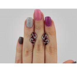 Серьги серебряные с натуральным рубином Абриэль (2575/9р рубин)