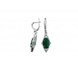 Серьги серебряные с зелёным агатом Сенсория (2195/9р з агат)