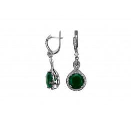 Серьги серебряные с зелёным агатом Мадрид (2228/9р з агат)