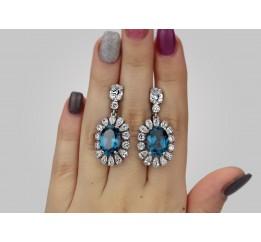 Серьги серебряные с кварцем London blue Екатерина (2304/9р кварц)