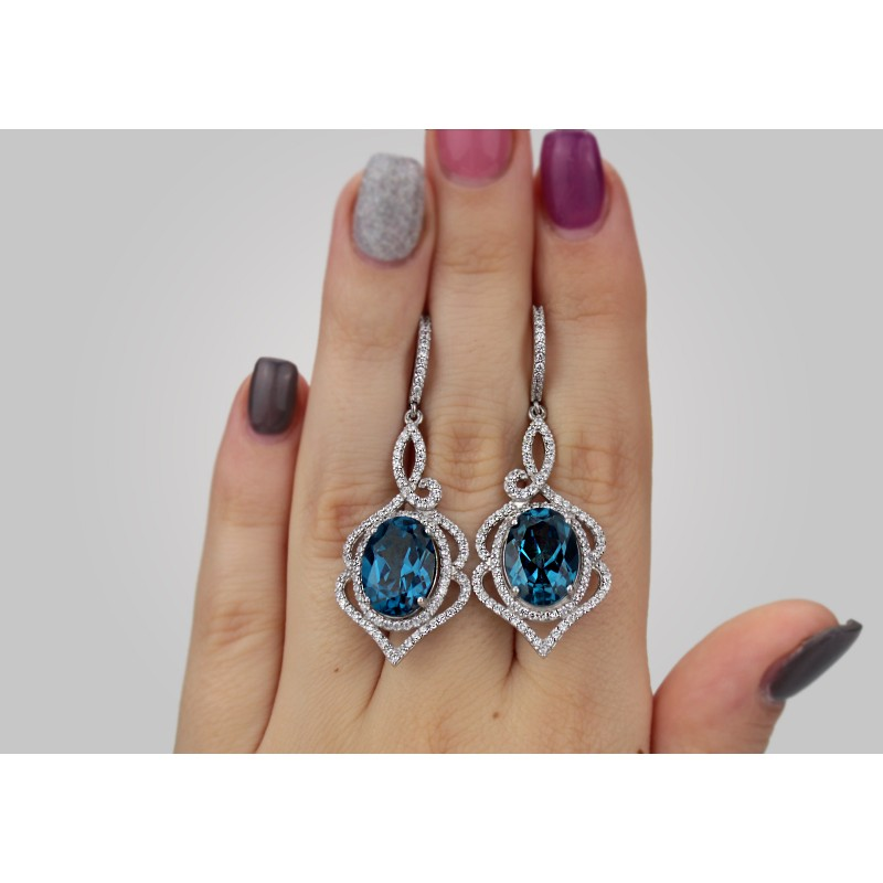 Серьги серебряные с кварцем London blue Василиса (2218/9р кварц)