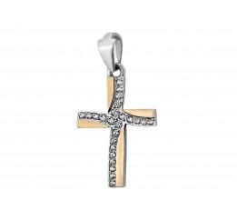 Крестик серебряный с золотом (313-п)