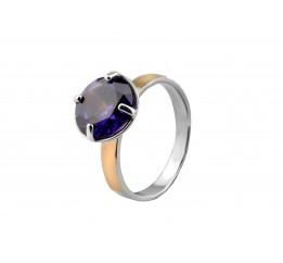 Кольцо серебряное с золотом Мирабель (566кф)