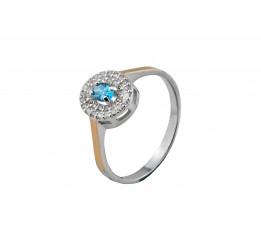 Кольцо серебряное с золотом Глазик (752кг)