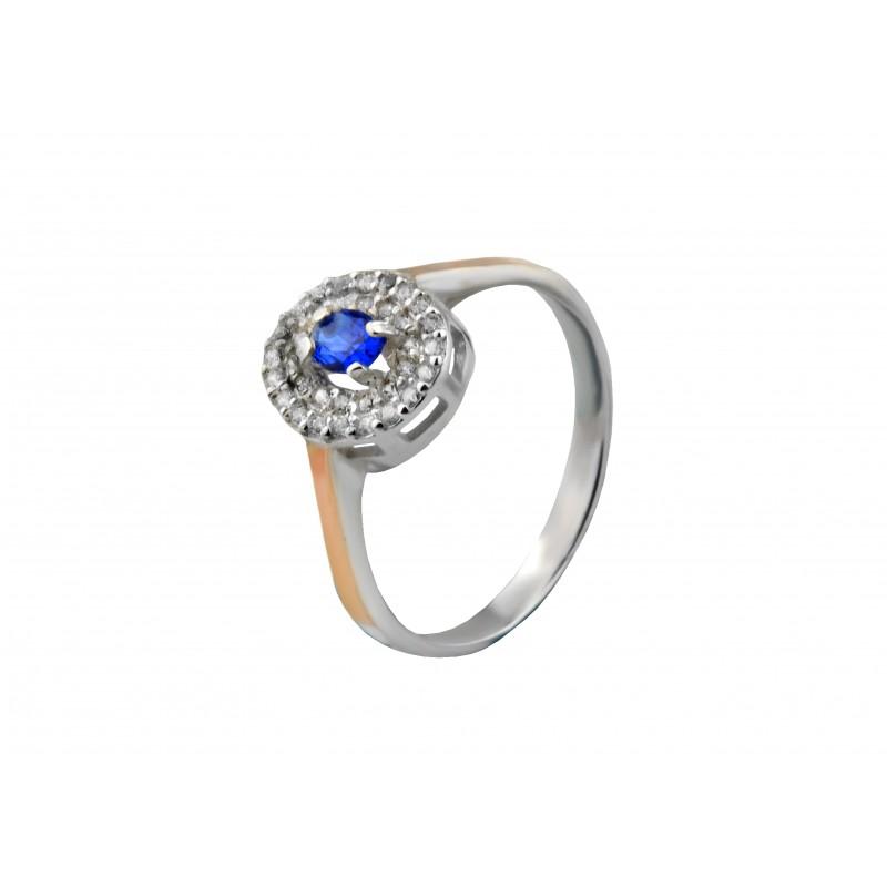 Кольцо серебряное с золотом Глазик (752кс)